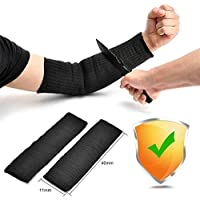IDEAPRO 1 Pair Black Kevlar Sleeve 40cm Arm Protection Sleeve Cut Resitant Burn Resistant Anti Abrasion Safety for Garden Kitchen Farm Work