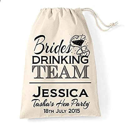 15cm x 20cm Small Personalised Brides drinking team hen party cotton drawstring gift bag - top-handle-bags
