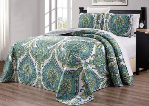 3-teiliges Bettwäsche-Set, fein, Bedruckt, wendbar, Tagesdecke, Tagesdecke, für King-Size-Bett und Cal, Polyester-Mischgewebe, Turquoise Blue, Grey, White, Sage Green, Oversize King (Cal-king-size-bettwäsche-sets)