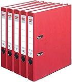 HERLITZ Ordner maX.file nature+ A4 5cm | Kraftpapierbezug selbstklebendes Rückenschild | 5er Sparpack in diversen Farben zur Auswahl (Rot)