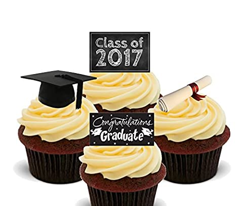 Graduation Congratulations Class of 2017 , Edible Cupcake Toppers - Stand-up Wafer Cake Decorations (Pack of 24)