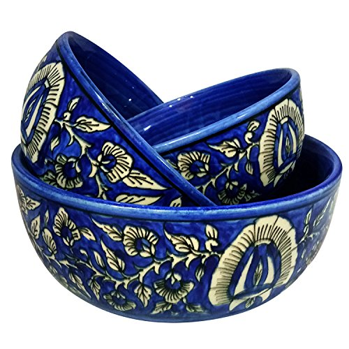 Khurja Pottery Handmade Decorated Ceramic Multi Purpose Serving Bowls or Storage Bowls or Mixing Bowls Use For Serving Nuts, Fruit, Snacks & Dessert Serving or Same Storage Multi Size Set of Qty-3 Handmade Pottery Bowl