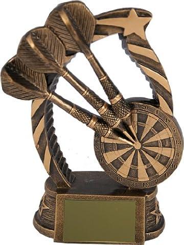 Bronze coloured resin tri darts trophy,150mm