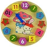 FEITONG Geometría del reloj digital de juguete de madera bloques de madera Juguetes de juguetes educativos para niños (free size)