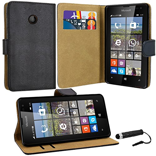 Case Collection Hochwertige Etui-Lederhülle für Microsoft Lumia 435 Hülle mit Kreditkarten- und Geldfächern hülle