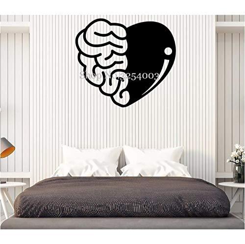 Gehirn und HerzWandkunstAufkleber Wohnkultur Schlafzimmer Abnehmbare Wandtattoos Teens RaumAufkleber Ornament Wandbild 47x42 cm