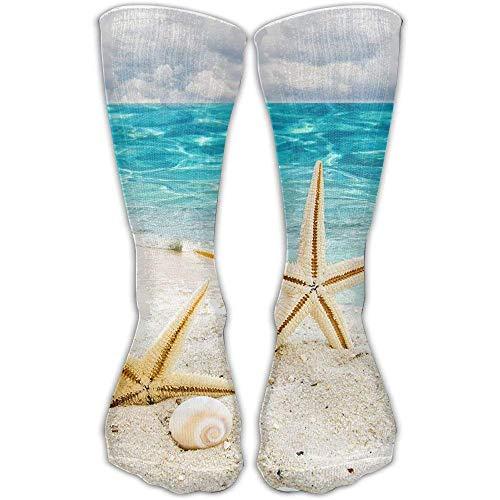 Über Das Kalb, Boot-socken (Bequeme erwachsene kniehohe Socken-Starfish-Muscheln auf Strand-Rohr-Mannschaft über dem Kalb für und jugendlich Mädchen-Turnhallen-Socken-Strumpf im Freien)