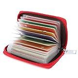 Porte Cartes de Crédit Femme Homme Cuir 26 Fentes (Rouge)