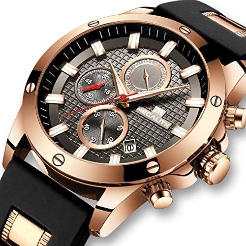 Relojes Hombre Relojes de Pulsera Cronógrafo Impermeable Negro Deportes Diseño Cara Grande Luminoso...