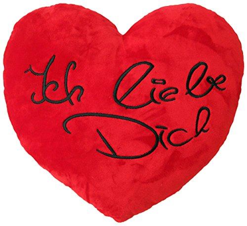 Wagner 9100 – Plüschkissen mit Ich Liebe Dich Schriftzug in Herz-Form 35 cm Herzkissen Plüschherz