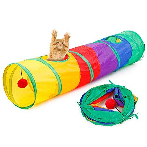 Teydhao Tunnel Pop-Up Regenbogen Haustier Katze Katze Kätzchen Kunst 2 Löcher Tunnel Spielzeug Spielzeug mit ()