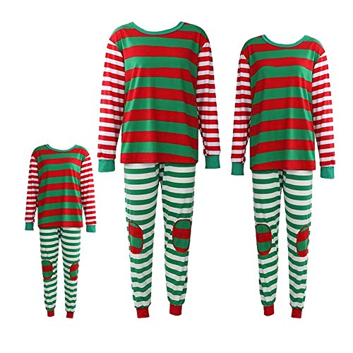 Weihnachten passende Familie Outfit rot grün gestreift 2 Stück Pyjama Set Vater Mutter Kid Kleidung