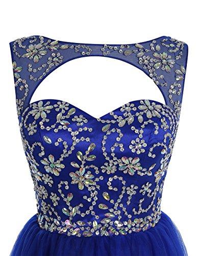 Bbonlinedress Robe de cérémonie Robe de bal en tulle emperlée longueur ras du sol Bleu Saphir
