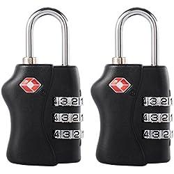 2 pack TSA Aprobado Equipaje Viaje Traba - 3 Dial Combinación Candado de Seguridad para Maletas, Bolsas, Taquillas de Gimnasio (Negro) TSA338