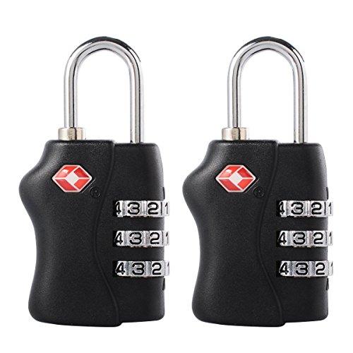 2 Stück TSA genehmigt Gepäck reisen Schlösser - 3 Dial Kombination Vorhängeschloss Sicherheit für Koffer, Taschen, Fitness-Studio Lockers(Black) TSA338 (Schloss Sentry Travel Approved)