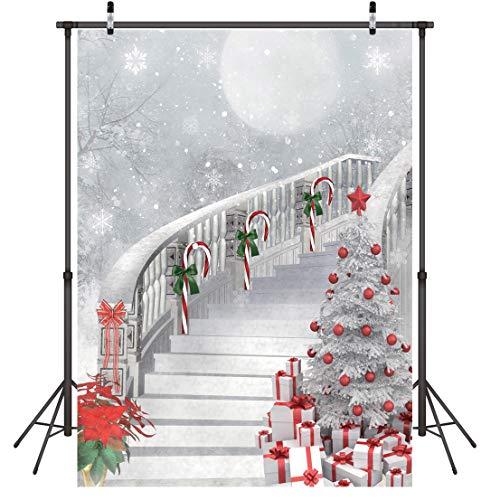 LYWYGG 5X7FT Frohe Weihnachten Weihnachtsbaum Fotografie Hintergründe Weiß Fliegenden Schnee Kulissen Weihnachten Treppen Hintergrund Studio Prop CP-78 (7ft Weihnachtsbaum)