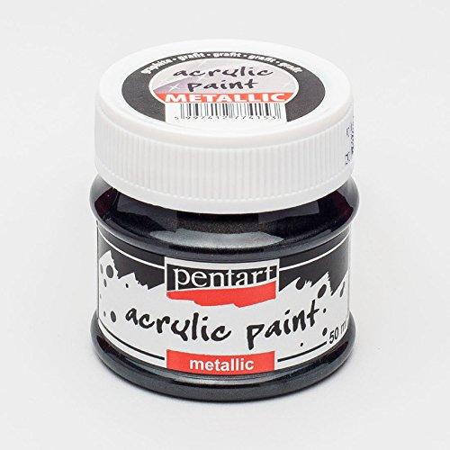 Acrylfarbe Metallic 50ml - graphit. Metallfarbe, Bastelfarbe, Acrylfarbe