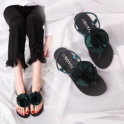 Hunpta Frauen flache Schuhe Blume Böhmen Freizeit Lady Peep-Toe Sandalen Outdoor Schuh Grün