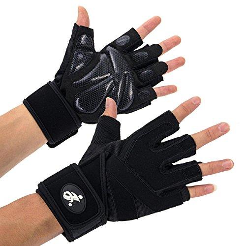 Opard Fitness Handschuhe Trainingshandschuhe mit Silica Gel Grip und Lange Adjustable Handgelenkstütze für mehr Leistung bei Gewichtheben und Bodybuilding Damen Herren