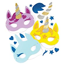 Baker Ross Unicorn Foam Mask Kits — Ideal Craft for Kids to Make and Wear as an Accessory for Halloween Costumes, Fancy Dress, Parties and More (Pack of 4)