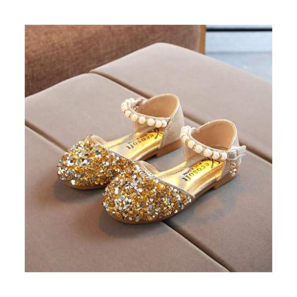 VECDY Zapatillas Bebe Niño, Sandalias Bebe Niñas Perlas, Lentejuelas Bling,Zapatos Princesa Sandalias para Bebé De… 4
