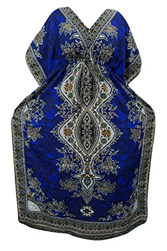 Indiatrendzs Women's Long Dashiki Boho Blue Kaftan Dress With Dori At Waist  available at amazon for Rs.386