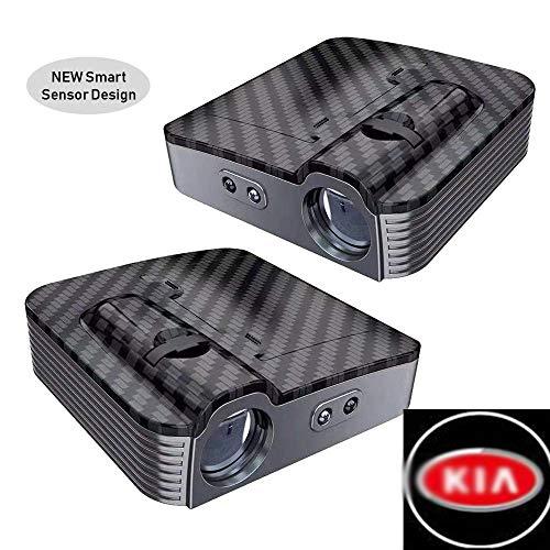 Wireless Auto Projektion LED Projektor Tür Schatten Licht Willkommen Licht Laser Emblem Logo Lampen Kit, kohlefaser,KIA ()