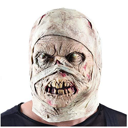 qiaoaoa Halloween Horror Maske Mumie Maske Ekelhaftes Gesicht Kopfbedeckung Zombie Kostüm Party Haunted House Horror Requisiten Menschen erschrecken (Mumie Maske Kostüm)