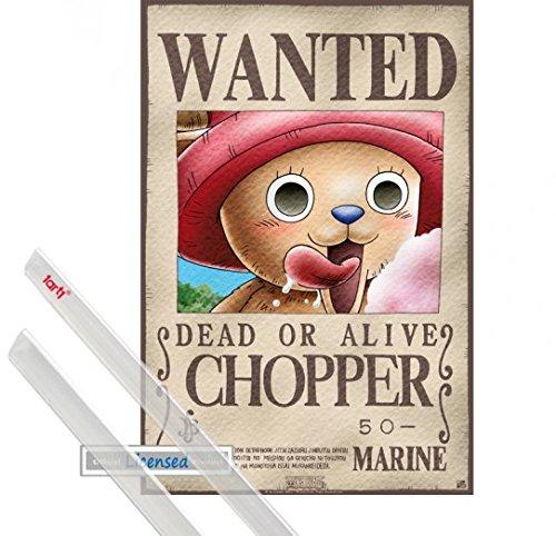 Poster + Hanger: One Piece Mini-Poster (52x35 cm) Wanted Chopper Inklusive Ein Paar 1art1 Posterleisten, Transparent