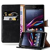 Cadorabo Hülle für Sony Xperia Z1 - Hülle in Graphit SCHWARZ – Handyhülle im Luxury Design mit Kartenfach und Standfunktion - Case Cover Schutzhülle Etui Tasche Book