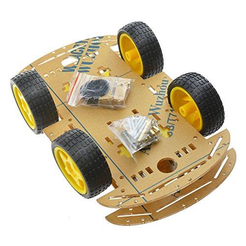 4 Rad Roboter Chassis Smart Auto mit Geschwindigkeit und Tacho Encoder für Arduino Raspberry Pi Roboter DIY Kits (4 WD)