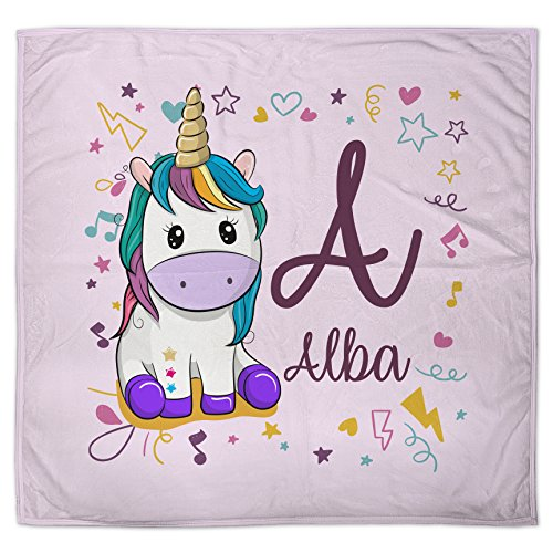 Lolapix Manta Unicornio Personalizada con Nombre | Regalo Bebé Recién Nacido | Tejido Polar Poliéster | Varios Diseños a Elegir | Unicornio Rosa