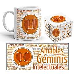 Idea Regalo - Kembilove - Tazza da caffè con Segno dello Zodiaco, Tazza da caffè e tè Oroscopo - Idea Regalo Originale Tazza da 350 ml - Tazza in Ceramica Stampata Naranja Gemelli