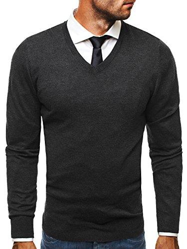 OZONEE Herren Pullover Longsleeve Sweatshirt Shirt Langarmshirt LP6002  Dunkelgrau_BL-M007