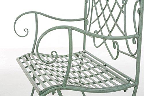 CLP Nostalige Metall-Gartenbank SELENA im Landhausstil, aus lackiertem Eisen, 109 x 43 cm – aus bis zu 6 Farben wählen Antik Grün - 7