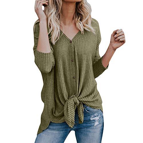 (TUDUZ Damen Multicolor Streifen Drucken Langarm Button Down Tie Henley Shirt Tops Strickjacke Oberteil Sweater Outwear)