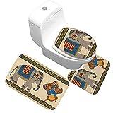 X-Life Elefant Badgarnitur 3 tlg. Set auf Mikrofaserflanell, Wasseraufnahmekapazität Rutschfest, für Stand-WC (Bad Teppich 50x80cm + Pedestal Teppich 40x50cm + WC-Deckel-Bezug 40x45cm)