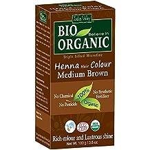 Indus Valley Bio Organic Henna Tinte para el cabello Mediano marrón 100% Triple tamizado Microfine