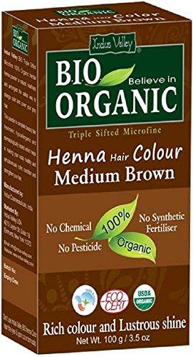 Indus Valley Bio Organic Henna Tinte para el cabello Mediano marrón 100% Triple tamizado Microfine Polvo (Medium Brown)