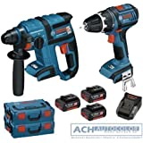 BOSCH - Destornillador inalámbrico GSR 18 V-Li y martillo perforador GBH 18 V-EC (incluye 3 baterías 18V 4,0 Ah, cargador y 2 cajas L-BOXX)