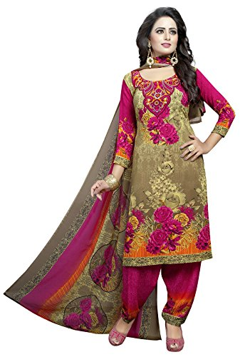 Ishin Synthetic Beige & Pink Party Wear Wedding Wear Casual Wear Daily Wear Bollywood New Collection Latest Design Printed Trendy Unstitched Salwar Suit Dress Material (Anarkali/Patiyala) With Dupatta  available at amazon for Rs.399