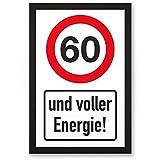 DankeDir! 60 Jahre Voller Energie, Kunststoff Schild - Geschenk 60. Geburtstag, Geschenkidee Geburtstagsgeschenk Sechzigsten, Geburtstagsdeko/Partydeko / Party Zubehör/Geburtstagskarte