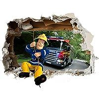 Feuerwehrmann Sam Wand-Zertrümmern Kinder Wandaufkleber Wandüber Wall Art Wand Tattoo Customise4U™ (fireman sam wall smash 35cm)