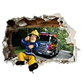 Feuerwehrmann Sam Wand-Zertrümmern Kinder Wandaufkleber Wandüber Wall Art Wand Tattoo Customise4U™ (fireman sam wall smash 35cm)