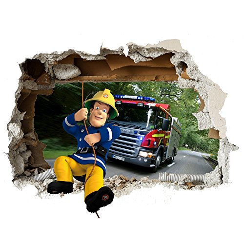 feuerwehr wandtattoo Feuerwehrmann Sam Wand-Zertrümmern Kinder Wandaufkleber Wandüber Wall Art Wand Tattoo Customise4U™ (fireman sam wall smash 35cm)