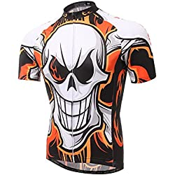 Pinjeer Burning Flame with Ghost Skull Pattern Impresión 100% poliéster Summer Pro Cycling Jersey Ropa para Hombres al Aire Libre Deportes Bicycle Riding,Respirable Jersey XXXL Opción de Manga Corta