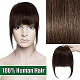 Frange a Clip Naturel Extension Cheveux Naturel 100% Cheveux Humain Vrai Cheveux Lisse Bang Fringe Postiche - #02 Châtain foncé