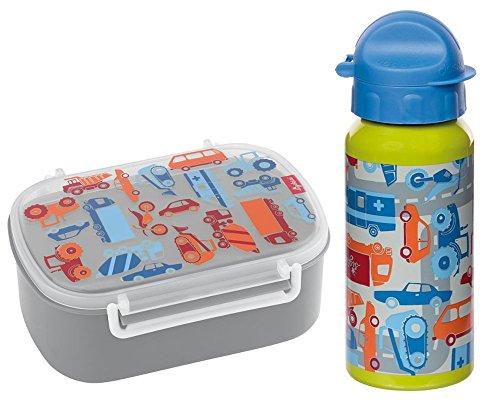 Sigikid Brotdose und Trinkflasche Traffic Fahrzeuge Auto Geschenkset für Kindergartenkinder oder ABC Schützen