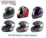 Casque de Moto Viper RS-250 Adulte Casque Integral Moto Crash Tourisme de Course de Sport ECE ACU Casque Approuvã© - Morte Argent Matt - S