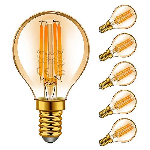 Emotionlite E14 LED Bombillas, bombillas de filamentos LED, 4W (equivalente 40W), resplandor ámbar, 2200K, base E14, pelotas de golf P45 / G45, paquete de 6